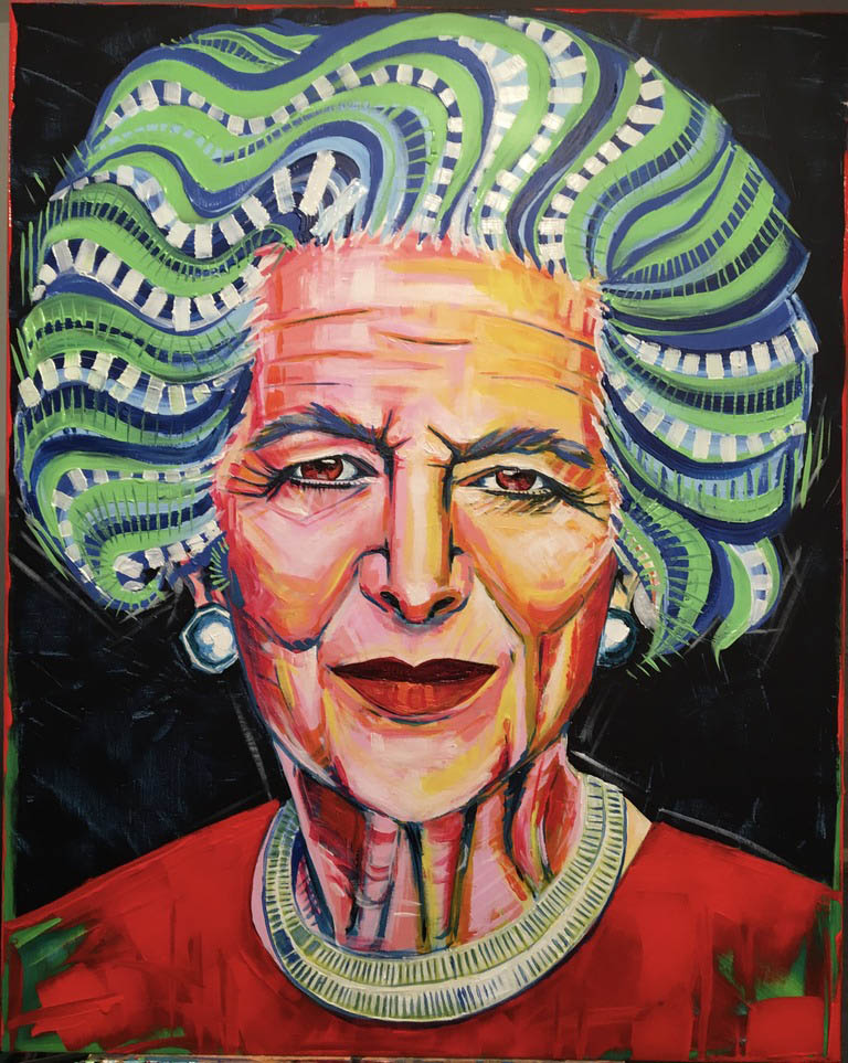 "Fotokopia obrazu ""Margaret Thatcher"" z cyklu ""The People"". Akryl 100 na 80 com"
